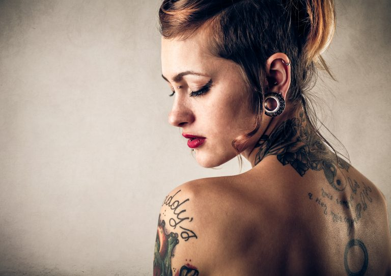 tattoed and body piercing on beautiful ladyu